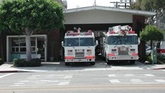 Fire Station 100 with trucks