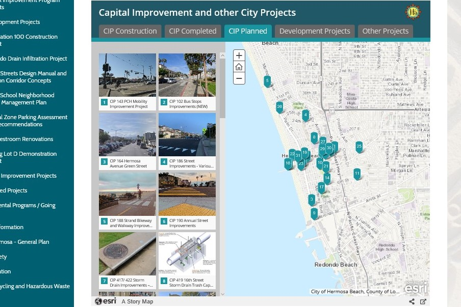 City Projects ArcGIS map