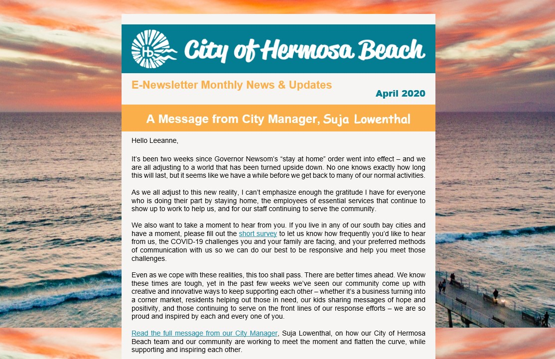E-Newsletter | Our City of Hermosa Beach April E-Newsletter has arrived!