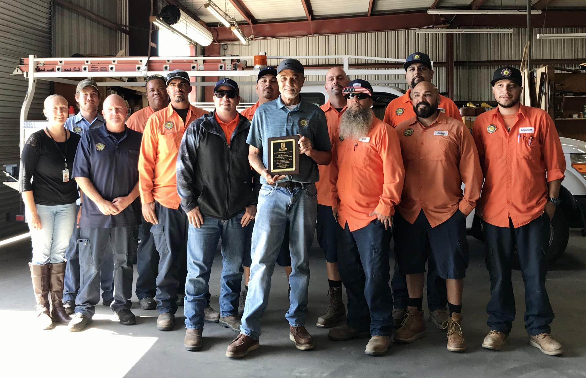 Public Works Superintendent Ells Freeman and crew - October 2019 Kiwanis Club recognition event at the City Yard